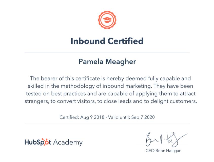 Pamela Alison Meagher Hubspot inbound certified