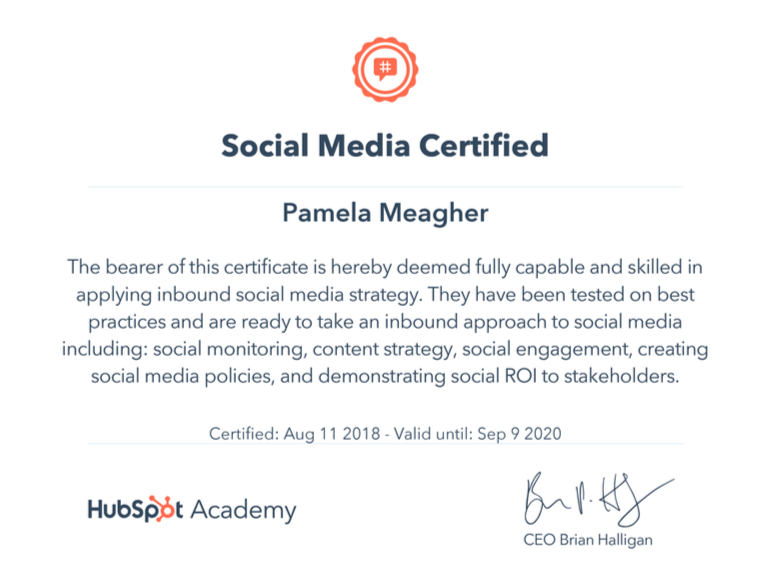 Pamela Alison Meagher Hubspot social media certified