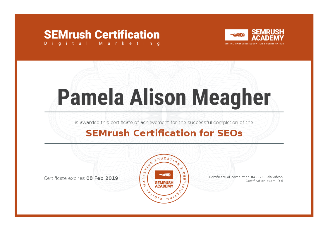 Pamela Alison Meagher SEMrush certification SEO